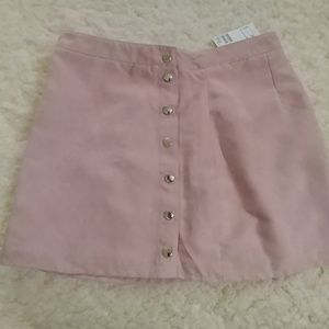 Divided Pink Faux Suede Snap-Front Wrap Skirt NWT